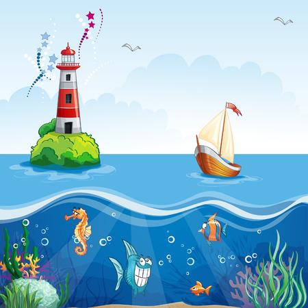 Children illustration sailing boat, underwater Vectores