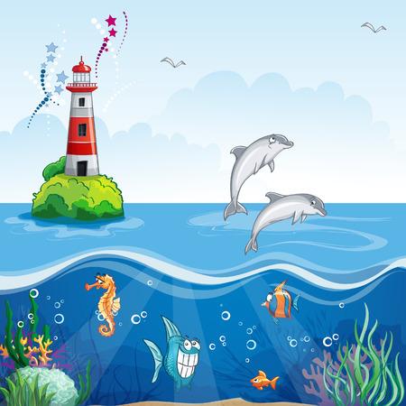 algae cartoon: Children illustration underwater with dolphins