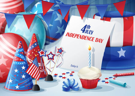 party poppers: Greeting Card Independence Day July 4  Illustration