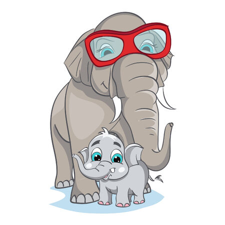 baby cartoon: Image of mother elephant with baby elephant  Illustration