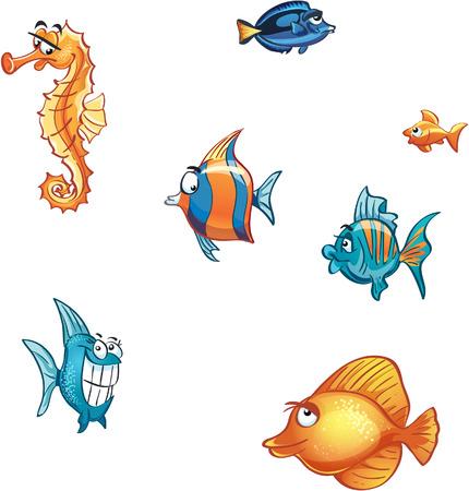 sea mammal: Set of cartoon marine fish and skate