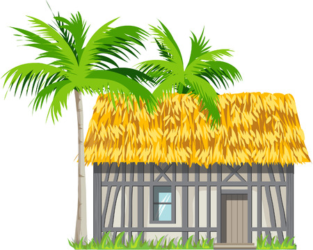 thatched: A house with a thatched roof and palm trees