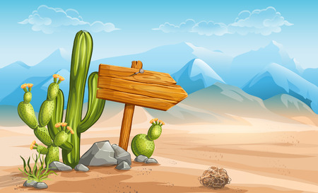 cactus desert: A wooden sign in the desert mountains in the background