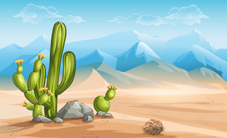 Illustration of desert with cactus on a background of mountains