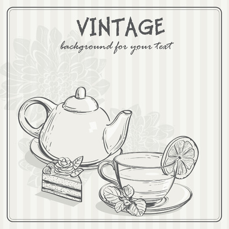 chocolate mint: vintage background with tea and the torus