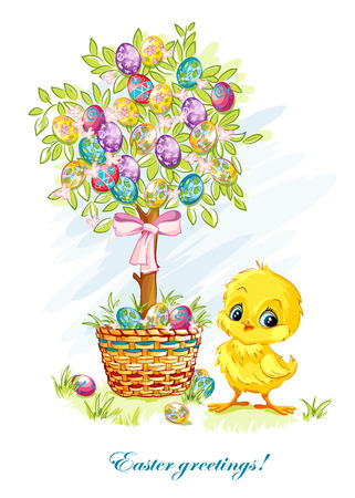 arbol de pascua: Ilustración para el día de Pascua con un pollo joven y árbol de Pascua Vectores