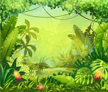 houtsoorten: Illustratie jungle met rode bloemen