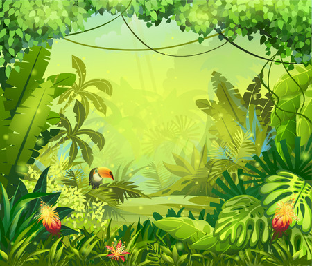 Llustration z kwiatami i dżungli tukan