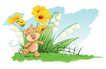 lily leaf: Illustration cheerful bear with lilies and flowers