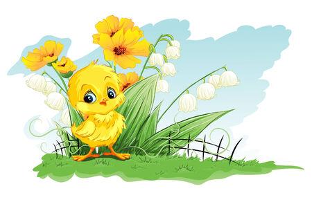 Ilustración linda de pollo sobre un fondo de flores amarillas y lirios del valle