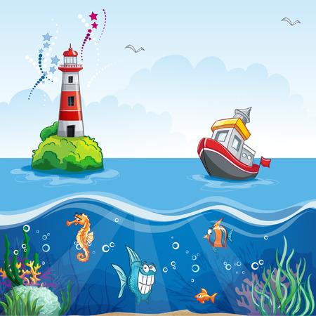illustration in cartoon style of a ship at sea and fun fish Ilustracja