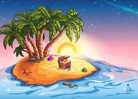 isla del tesoro: Ilustración isla con palmeras y un cofre del tesoro