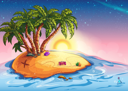 Illustration island with palm trees and treasure in the midst of the ocean