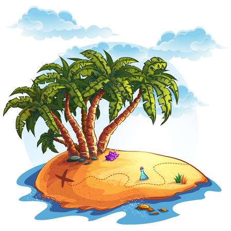 isla del tesoro: Ilustración isla con palmeras y tesoros Vectores
