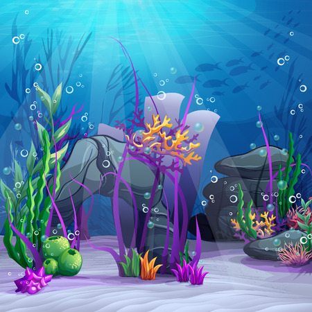 coral ocean: Illustration of the underwater world