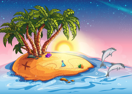 Illustration of Treasure Island in the ocean and dolphins Vector
