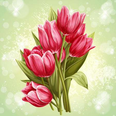 Image of a bouquet of flowers of pink tulips Illustration