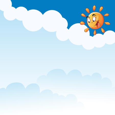 child s: Vector cartoon sun clouds