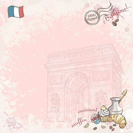 french bean: Background image on France with cupcakes and croissants