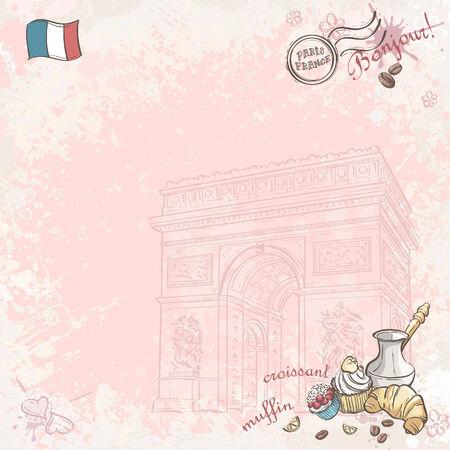 background image: Imagen de fondo en Francia con las magdalenas y cruasanes
