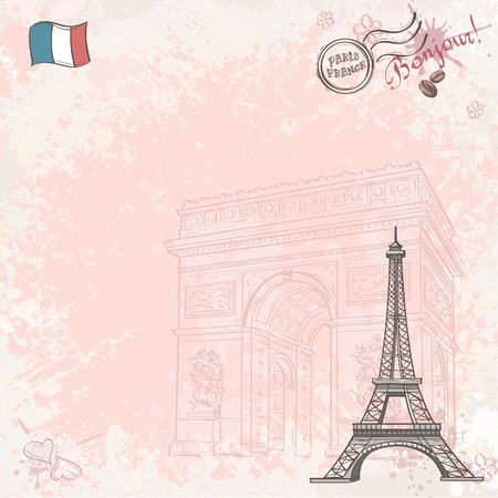 Background image on France with Eiffel tower Vector