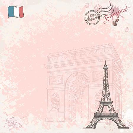 background image: Imagen de fondo en Francia con la torre Eiffel Vectores