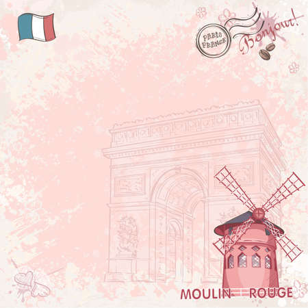 rouge: Background image on paris depicting the Moulin Rouge