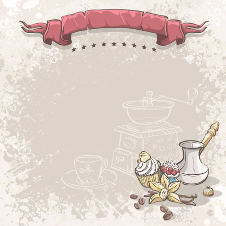 Illustration background with coffee, vanilla flower and cupcakes Vector