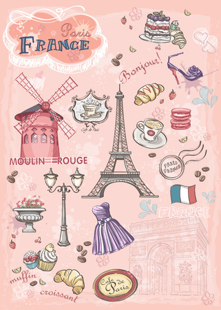 Set of images of various attractions, Paris, France Vector