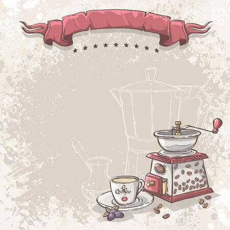 Vektor-Hintergrund für Ihren Text mit der Mühle und einer Tasse Kaffee