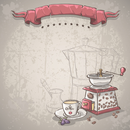 coffee cup vector: Vector background with a coffee grinder, cup and blackberries Illustration