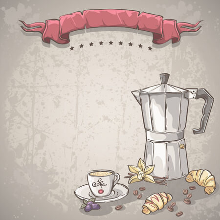 vanilla cupcake: Vector background with a cup of coffee, coffee and croissants