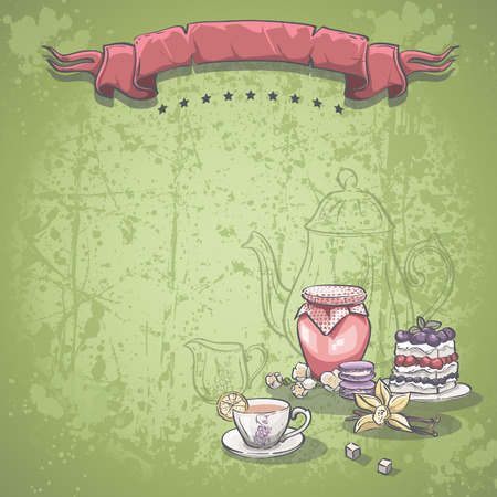 jam jar: Background image with a cup of tea, jam and blackberry pie
