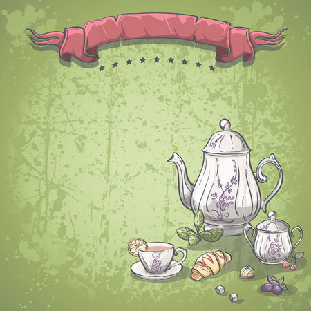 tea set: Background image with tea service with tea leaves, croissants and chocolate candy