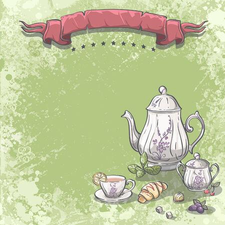 background image: Imagen de fondo con servicio de t� con hojas de t�, croissants y fruta