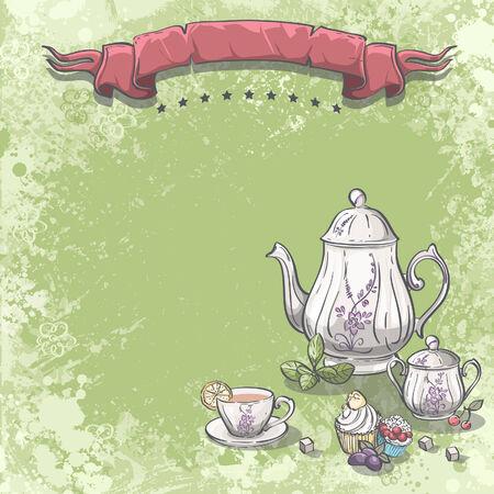 background image: Imagen de fondo con servicio de t� con hojas de t�, cupcakes y terrones de az�car