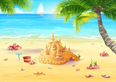 Illustrazione vacanza al mare con castello di sabbia e funghi allegri Archivio Fotografico - 30921879