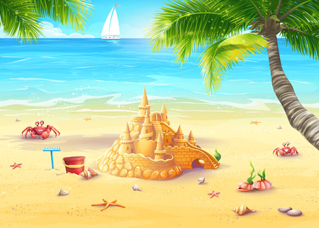 Illustration holiday by the sea with sand castle and merry mushrooms Vectores