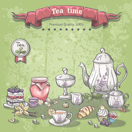 Illustration of a tea set with a jar of jam, muffins, pies and croissants Vector