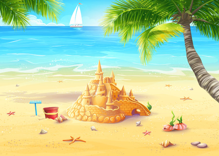 Illustration of the sea shore with palm trees, seashells and sandcastles