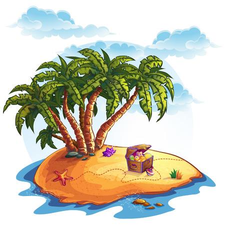 isla del tesoro: Ilustración de la isla del tesoro y las palmas
