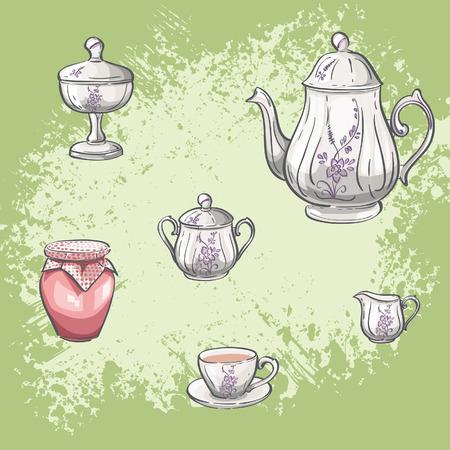 Illustration set of tea and jam jars Vector