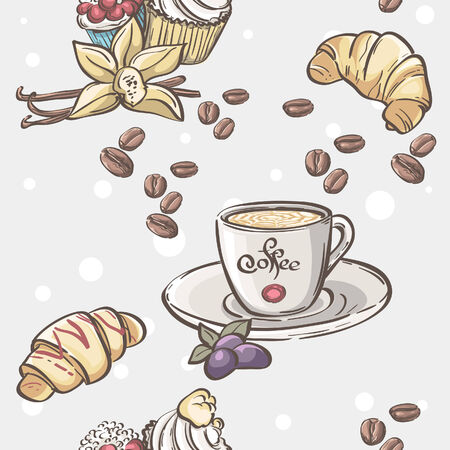 Seamless pattern with cup of coffee, croissants and fruit Vector