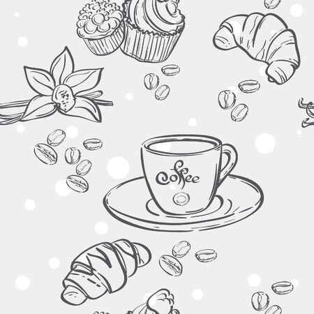 Seamless pattern with cup of coffee, croissants and muffins Vector