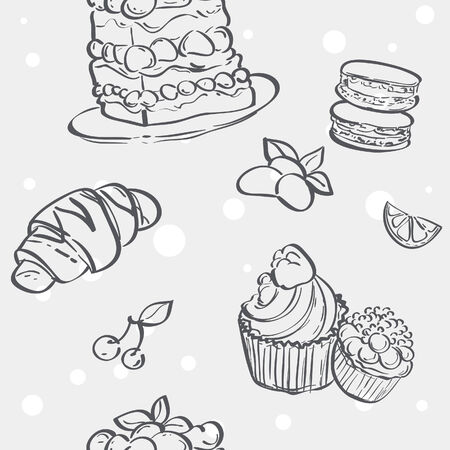 flan: Seamless pattern with cupcakes image, croissant and flan