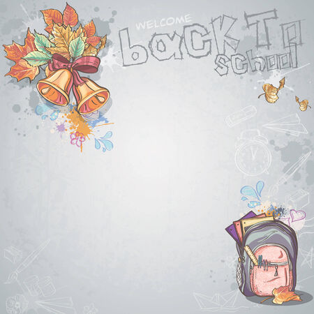 school backpack: Background image for text with bells, autumn leaves and school backpack