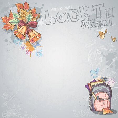 zaino scuola: Immagine di sfondo per il testo con campane, foglie di autunno e zaino scuola