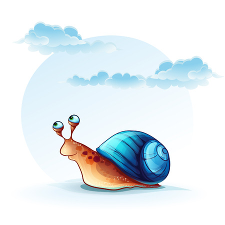 Illustration cheerful snail on a background of sky with clouds Vector