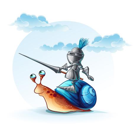 cochlea: Illustration funny knight on the cochlea Illustration