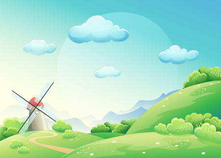 nature background: Illustration meadows with mill